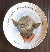 Azur Mixed Media Prints - Yoda Print by Guillaume Bruno