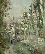 Garden Framed Prints - Young Boy in the Hollyhocks Framed Print by Berthe Morisot