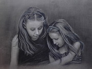 Sisters Drawings - Young sisters by Colleen Gallo