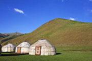 Yurts In The Tash Rabat Valley Of Kyrgyzstan  Print by Robert Preston