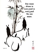 Mindful Prints - Zen Horses Moon Reverence Print by Bill Searle
