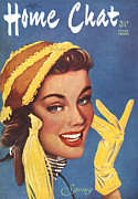 Gloves Drawings - 1950s Uk Home Chat Magazine Cover by The Advertising Archives