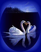 Swans... Paintings - Kissing Swans  by Bonnie Cook