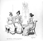 Interior Drawings Framed Prints - Scene from Pride and Prejudice by Jane Austen Framed Print by Hugh Thomson