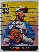 Negro League Prints - 2000 Satchel Paige Stamp Print by Bill Owen