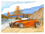 Pen And Ink Framed Prints Prints - 2002 Plymouth Prowler Print by Jack Pumphrey