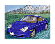 Sports Cars Paintings - 2002 Porsche 996 by Jack Pumphrey