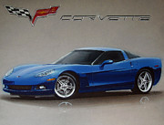 Checkered Drawings - 2005 Corvette by Paul Kuras
