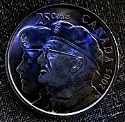 Candian Prints - 2005 The Year Of The Veteran 25 Cent Coin Print by Danielle  Parent