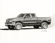 Mechanic Drawings Framed Prints - 2006 Chevy Silverado 2500 HD Framed Print by Sarah Batalka