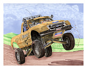 Vehicles Painting Framed Prints - 2007 Ford F-150 Off Road Racing  Framed Print by Jack Pumphrey