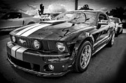 Racer Framed Prints - 2008 Ford Shelby Mustang with the Roush Stage 2 Package BW Framed Print by Rich Franco