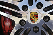 Chrome Prints - 2008 Porsche Turbo Cabriolet Wheel Rim Print by Jill Reger