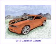 Chevrolet Drawings Metal Prints - 2010 Chevrolet Camaro Metal Print by Jack Pumphrey