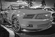 Racer Framed Prints - 2010 Ford Mustang Convertible BW Framed Print by Rich Franco