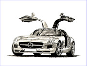 Drawing Framed Prints Prints - 2010 Mercedes Benz SLS Print by Jack Pumphrey