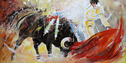 Bullfight Paintings - 2010 Toro Acrylics 01 by Miki De Goodaboom