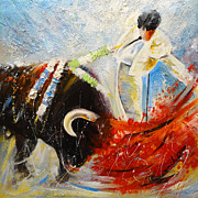 Bullfight Paintings - 2010 Toro Acrylics 02 by Miki De Goodaboom