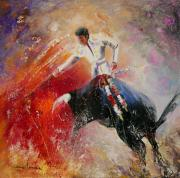 Bullfight Paintings - 2010 Toro Acrylics 05 by Miki De Goodaboom
