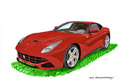 Wheel Framed Prints Posters - 2012 F12 Ferrari Berlinetta GT Poster by Jack Pumphrey