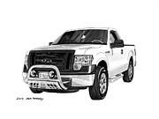 Old And New Drawings Prints - 2012 Ford F 150 Pick Up Print by Jack Pumphrey