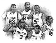 Basketball Sports Drawings Prints - 2012 NCAA Champion Wildcats Print by Tanya Crum