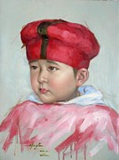 Panel Drawings - 2012 Original Oil Painting Art-cute Baby by Hongtao     Huang
