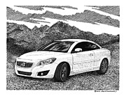 Pen And Ink Framed Prints Prints - 2012 Volvo C 70 Front Print by Jack Pumphrey