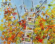 Alexandria Paintings - 2013 54 Tree and Ladder Alexandria Virginia by Alyse Radenovic