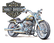 Bicycle Drawings - 2013 Harley Davidson CVO Breakout by Shannon Watts