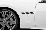 Italian Sports Cars Prints - 2013 Maserati Gran Turismo S B and W Print by Rich Franco