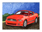 Ford Mustang Paintings - 2013 Mustang by Jack Pumphrey