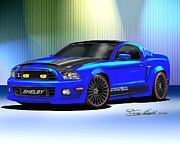 Automotive Drawings - 2013 Mustang Shelby Razorback by Danny Whitfield