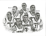 Ncaa Drawings Prints - 2013 NCAA Champion Louisville Print by Tanya Crum