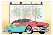 Calendar Drawings Prints - 2013 Poster Calendar Vintage Pontiac Star Chief Print by Michel Godts