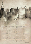 Wall Calendars Posters - 2014 Calendar - New York Skyline Poster by Beverly Brown Prints