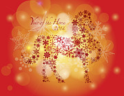 Special Occasion Framed Prints - 2014 Happy New Year of the Horse with Snowflakes Pattern Framed Print by JPLDesigns