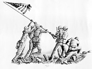 Iwo Jima Drawings - 205 Raising the Flag on Iwo Jima Featured by James Robinson