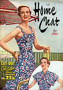 1950s Fashion Drawings Prints - 1950s Uk Home Chat Magazine Cover Print by The Advertising Archives