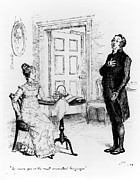 Illustration Drawings Metal Prints - Scene from Pride and Prejudice by Jane Austen Metal Print by Hugh Thomson