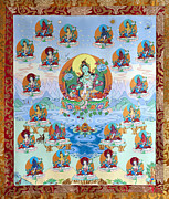 Buddhist Tapestries - Textiles Posters - 21 Taras Poster by Ies Walker