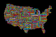 United States Art - United States Typography Text Map by Michael Tompsett