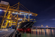 Town Pier Framed Prints - Container Cargo freight ship Framed Print by Anek Suwannaphoom