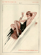 Champagne Drawings Metal Prints - 1920s France La Vie Parisienne Magazine Metal Print by The Advertising Archives