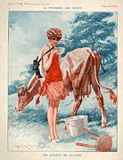 Cows Drawings Posters - 1920s France La Vie Parisienne Poster by The Advertising Archives