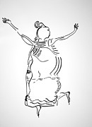 Jesus Drawings Prints - Dinka Dance - South Sudan Print by Gloria Ssali