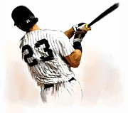 New York Drawings Metal Prints - 23 Don Mattingly Metal Print by Iconic Images Art Gallery David Pucciarelli