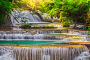 Amazing Sunset Prints - Erawan Waterfall Print by Anek Suwannaphoom