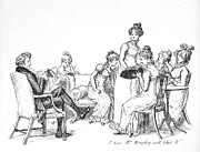 Father Drawings Prints - Scene from Pride and Prejudice by Jane Austen Print by Hugh Thomson