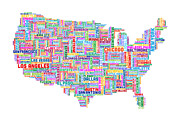 Typography Map Digital Art - United States Typography Text Map by Michael Tompsett